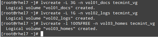 Create Logical Volumes in LVM