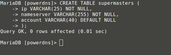 Create Table Supermaster
