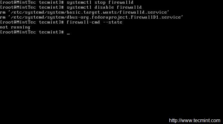 Disable Firewalld in CentOS 7