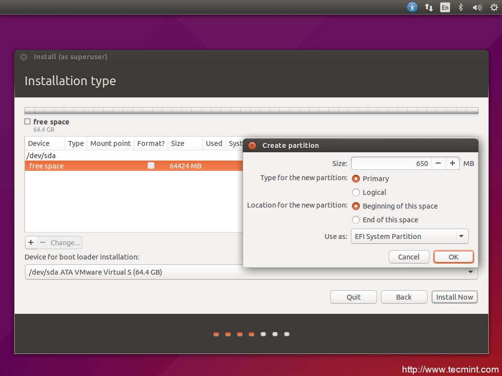 installation of ubuntu 15 04 vivid vervet desktop on uefi firmware rh tecmint com System Requirements Ubuntu 11.04 Linux Ubuntu 9.04