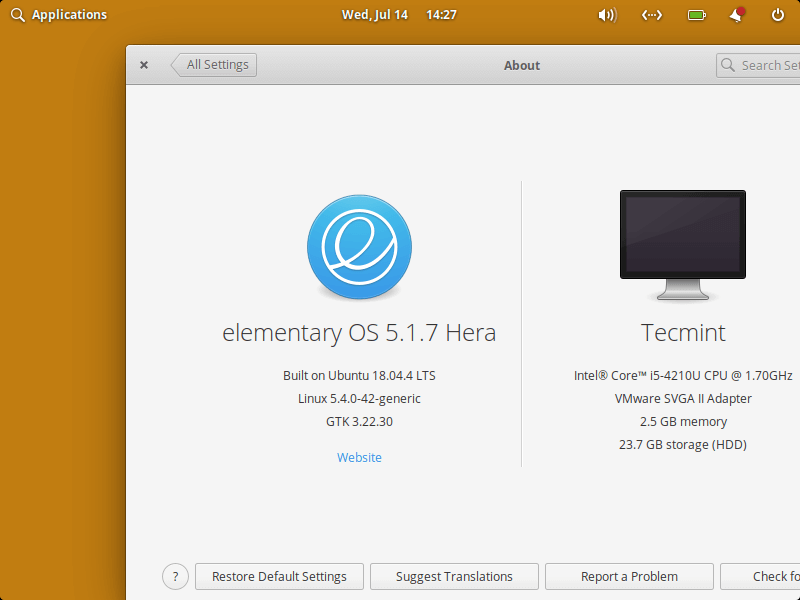 Elementary OS About