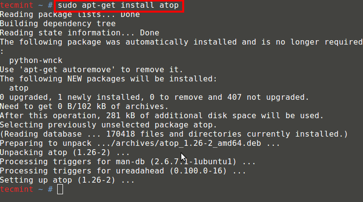 Install Atop Under Debian Systems