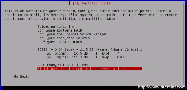 Write Changes to Disk Partitioning
