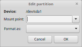 Select Mount Point for Partition