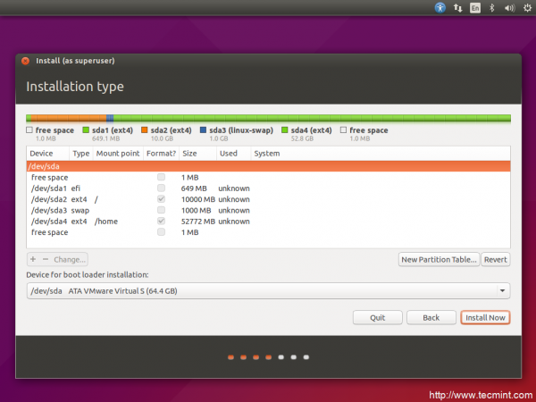 Partition Table: Install Now