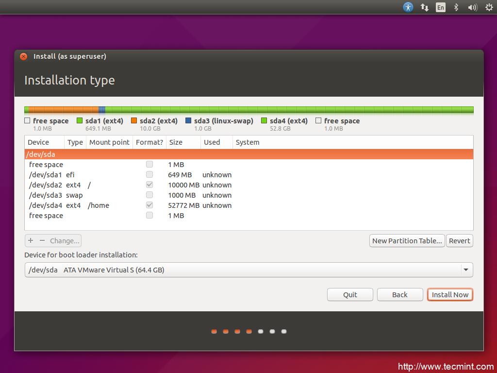 installation of ubuntu 15 04 vivid vervet desktop on uefi firmware rh tecmint com System Requirements Ubuntu 11.04 Ubuntu 11.04 Issues