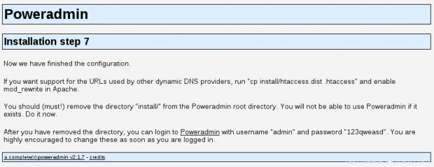 PowerDNS Installation Completed