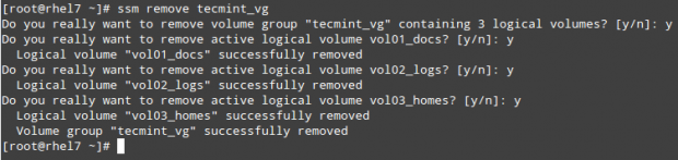 Remove Logical Volume and Volume Group