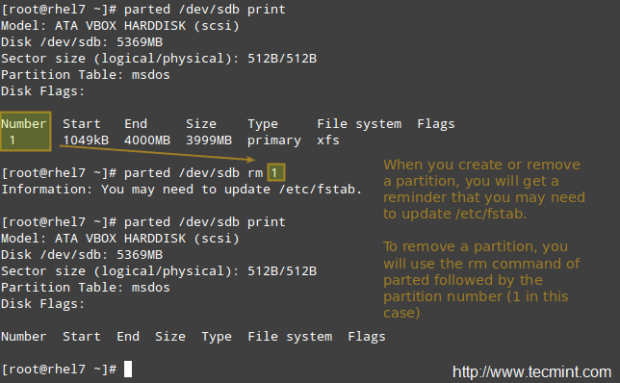 Remove Partition in Linux