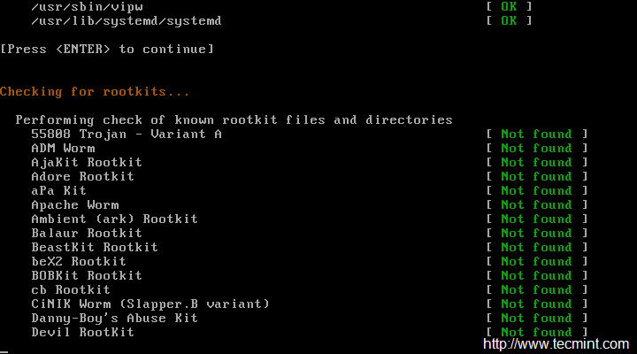 RootKit Scan Results