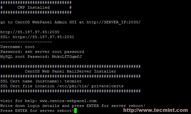 CentOS Web Panel Information