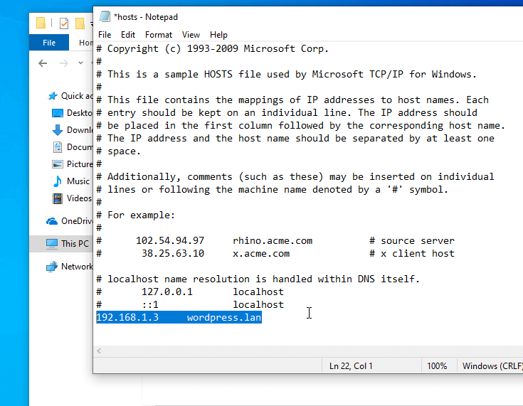 Add Hostname Windows Host File