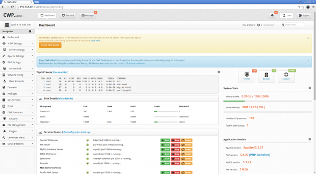 CentOS Web Panel Dashboard