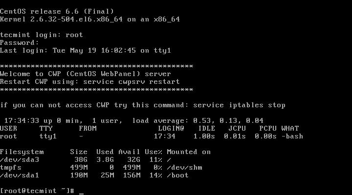 CWP Server Information