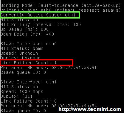 Verify NIC Bonding Failover Status