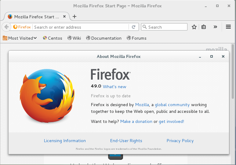 Firefox 49 Preview on CentOS 7