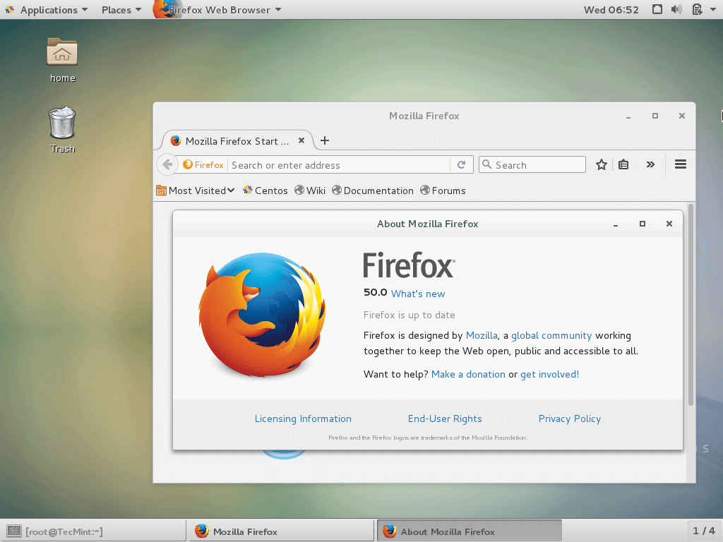 Firefox 50 Preview on CentOS 7