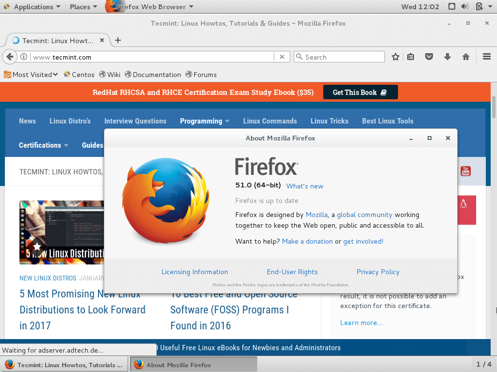 Firefox 51 Preview on CentOS 7