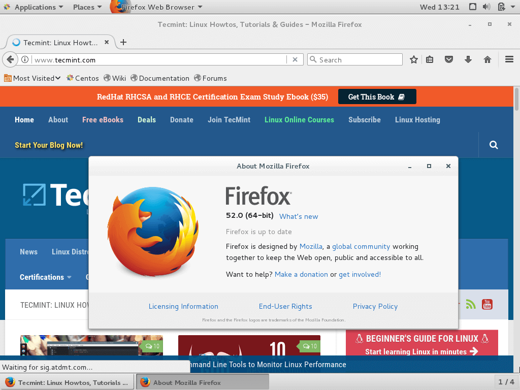 Firefox 52 Preview on CentOS 7