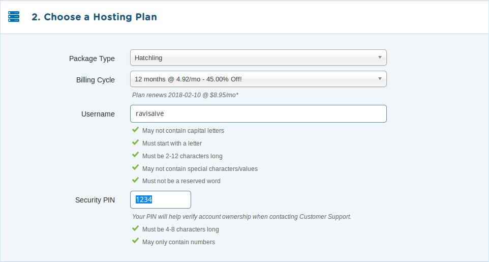 Choose HostGator Plan