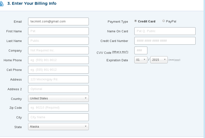 Hostgator Billing Information