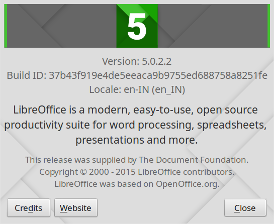 About LibreOffice 5.0 Version