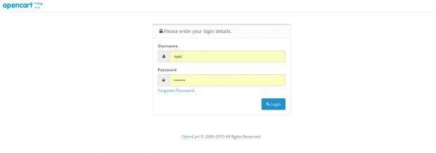 OpenCart Admin Login