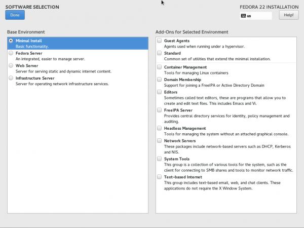 Select Fedora Minimal Install