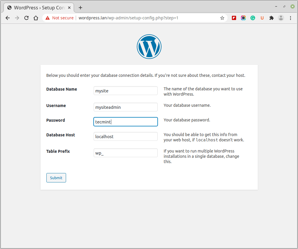 WordPress Database Settings