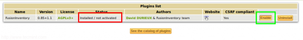 Enable Fusion Inventory Plugin