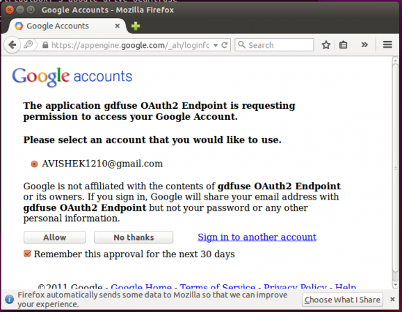 Allow Access gdfuse OAuth2