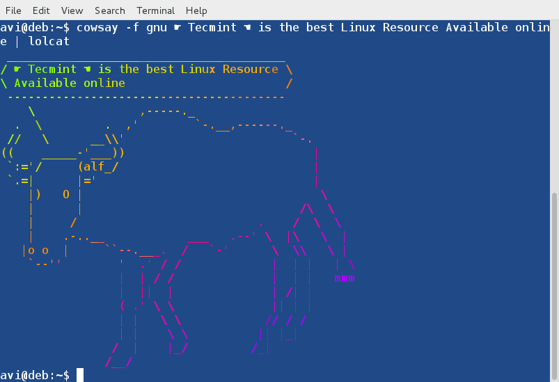 Cowsay with Lolcat