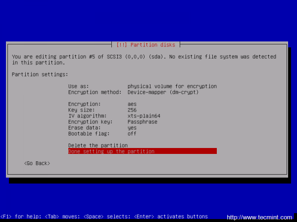 Encrypted Partition Summary