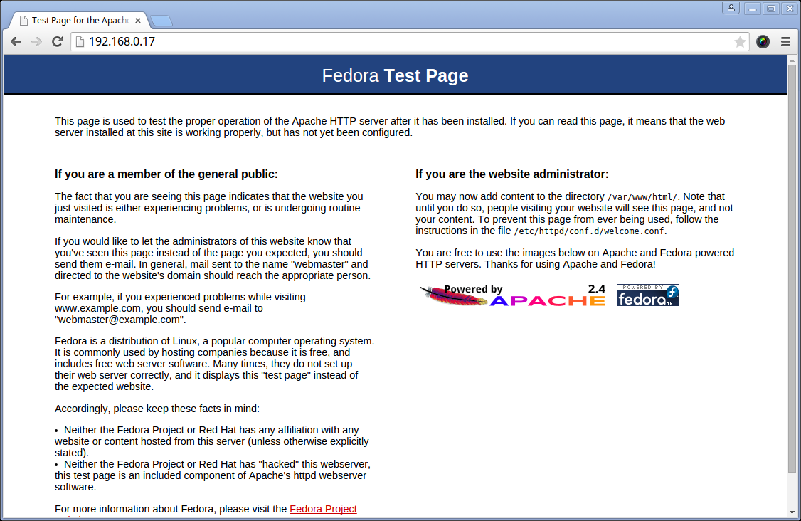 Fedora 22 Apache Default Page