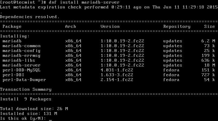 Install MariaDB in Fedora 22