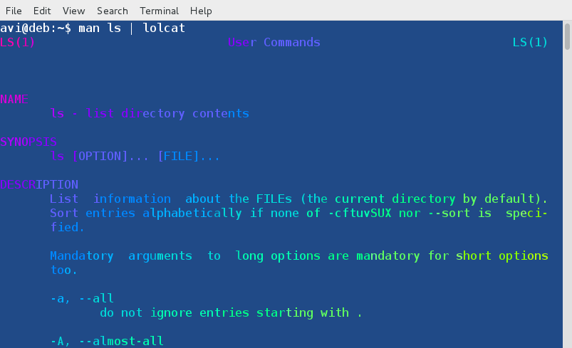 Lolcat - A Command Line Tool to Output Rainbow Of Colors in