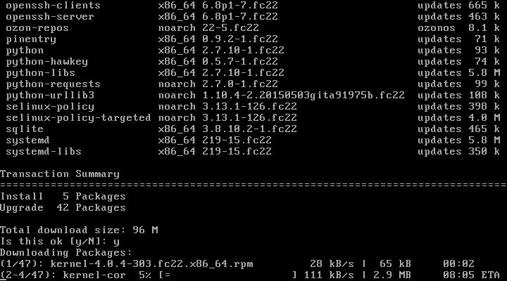 Update Fedora 22
