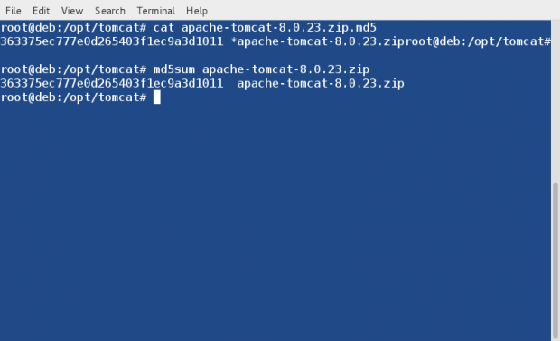 Verify MD5 of Apache Tomcat