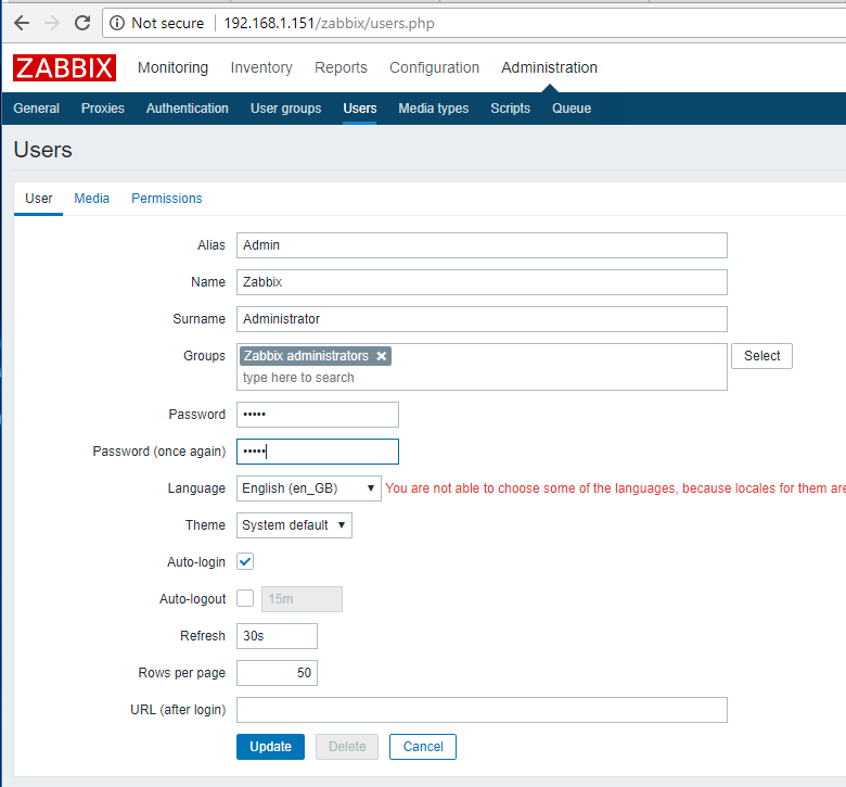 Change Zabbix Admin Password