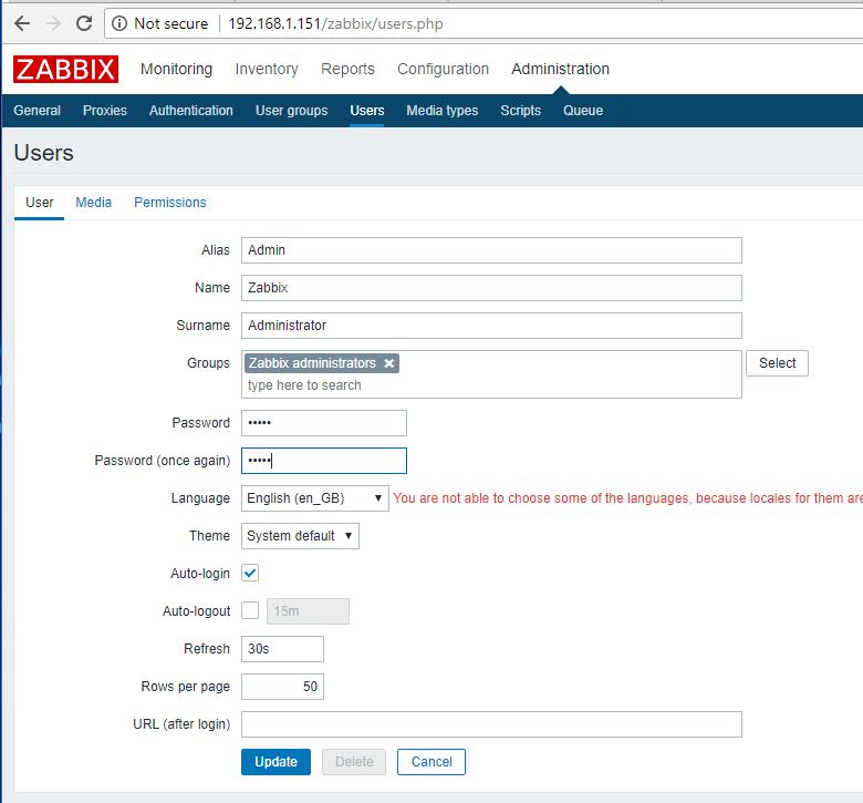 Change Zabbix Admin Password