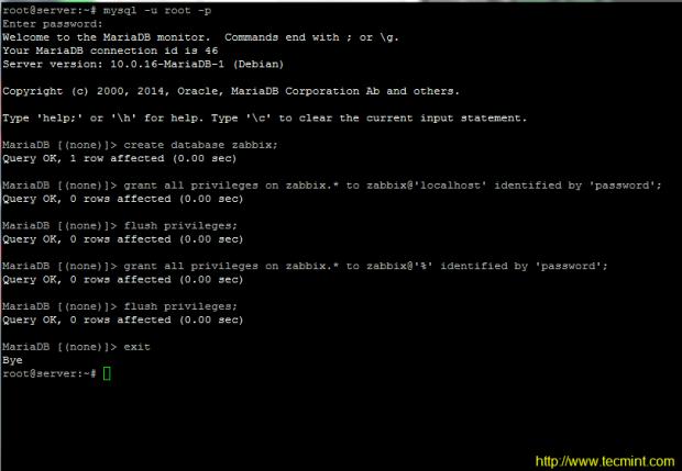 Configure Mariadb for Zabbix