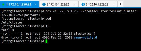 Create Cluster Configuration