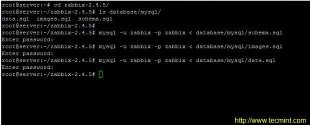 Import Tables to Zabbix Database