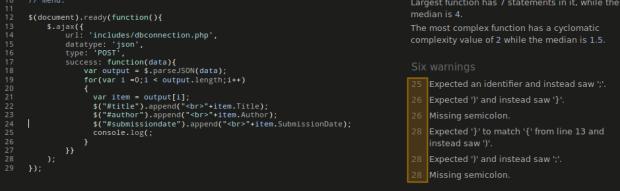 JSHint Tool to Detect Errors