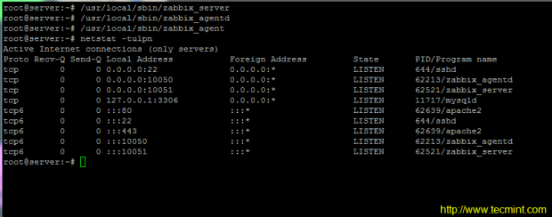 Start Zabbix Server and Agent