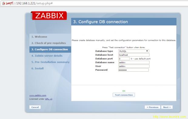 Zabbix DB Configuration