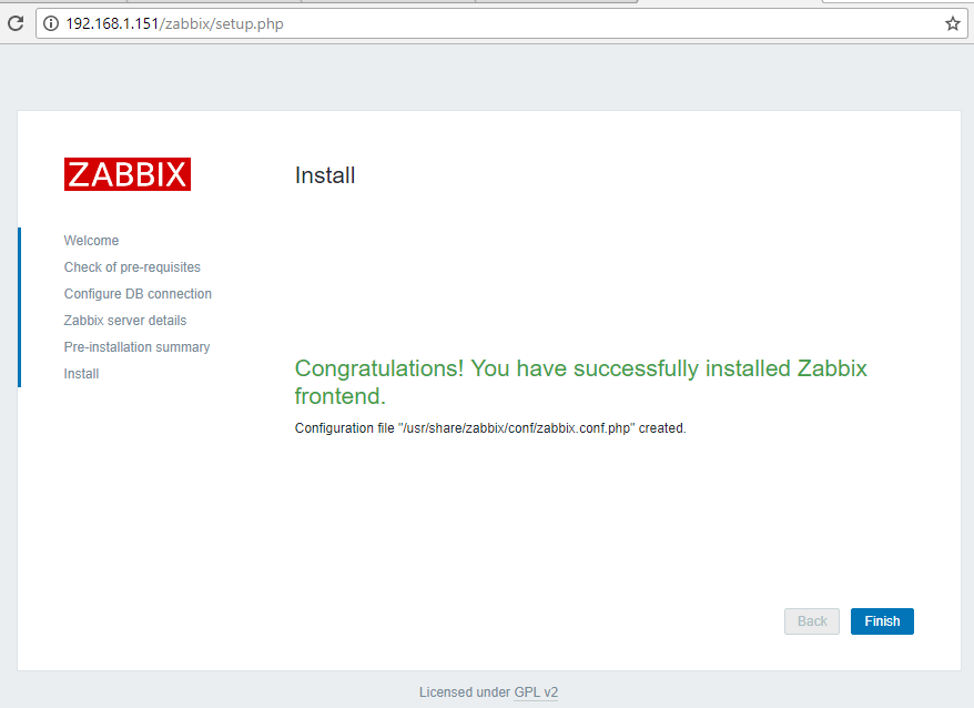 Zabbix Installation Completed