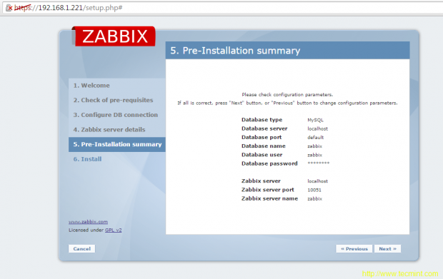 Zabbix Installation Summary