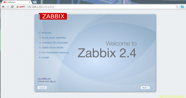 Zabbix Welcome Screen