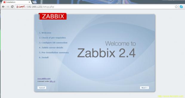 Zabbix Welcome Screen